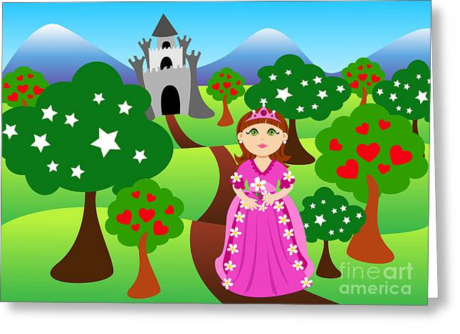 Fairy Hearts Pink Flower Digital Art Greeting Cards - Princess and castle landscape Greeting Card by Sylvie Bouchard