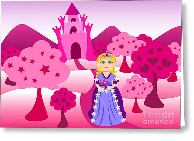 Fairy Hearts Pink Flower Greeting Cards - Princess and pink castle landscape Greeting Card by Sylvie Bouchard