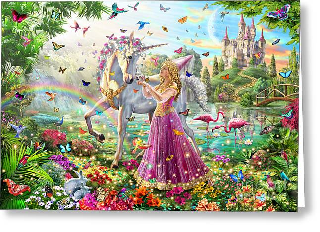 Waterfall Greeting Cards - Princess and the Unicorn Greeting Card by Adrian Chesterman
