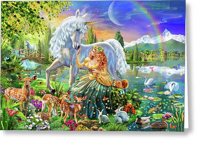 Princess And Unicorn Greeting Card by Adrian Chesterman
