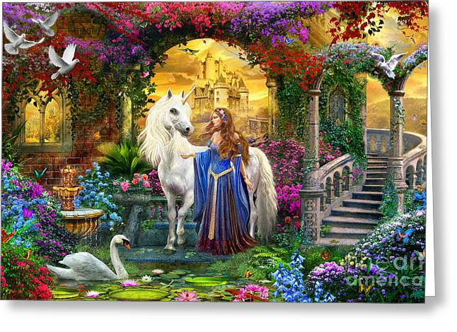 Swans... Greeting Cards - Princess and Unicorn in the Cloisters Greeting Card by Jan Patrik Krasny