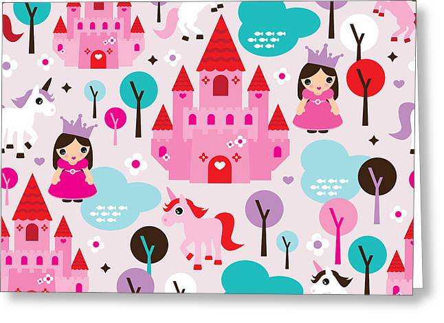 Princess And Unicorns Illustration For Kids Greeting Card by Little Smilemakers Studio