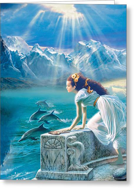 Dolphin Greeting Cards - Princess Greeting Card by Andrew Farley