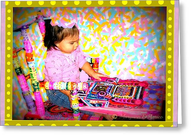 Child Sculptures Greeting Cards - Princess Bella In the Original Magical Rocking Chair Greeting Card by Maryann  DAmico