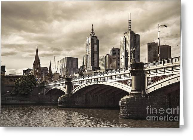 City Buildings Greeting Cards - Princess Bridge Greeting Card by Andrew Paranavitana