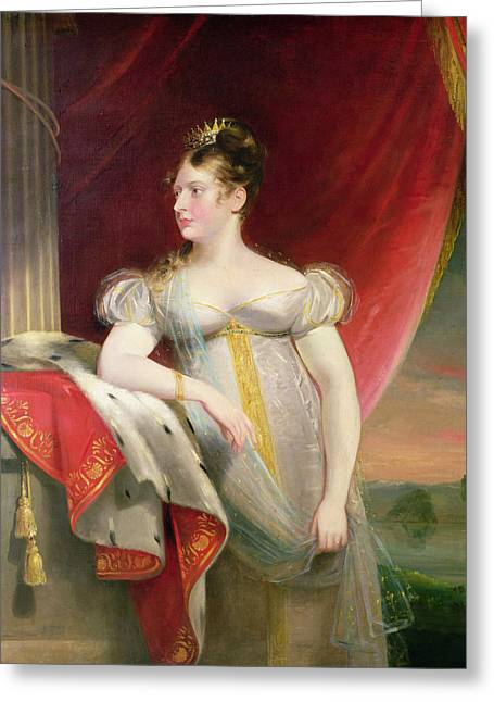 Tiara Greeting Cards - Princess Charlotte 1796-1817 Before 1817 Oil On Canvas Greeting Card by James Lonsdale