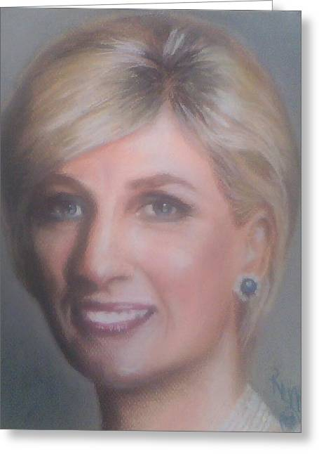 Celebrity Portraits Pastels Greeting Cards - Princess Diana  Greeting Card by Ronnie Melvin