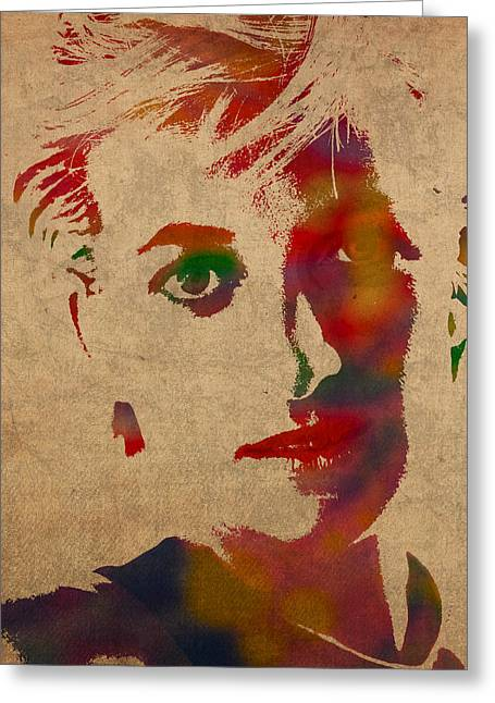 Princess Diana Watercolor Portrait On Worn Distressed Canvas Greeting Card by Design Turnpike