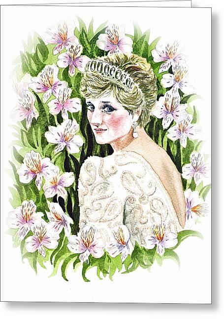 Royalty Greeting Cards - Princess Dianna Greeting Card by Irina Sztukowski