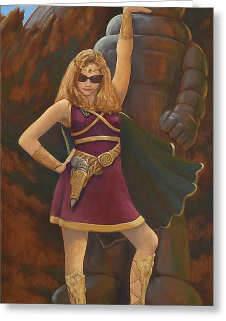 Lost Princess Greeting Cards - Princess Erika Ruler of the Seven Lost Planets Greeting Card by Charles Fennen