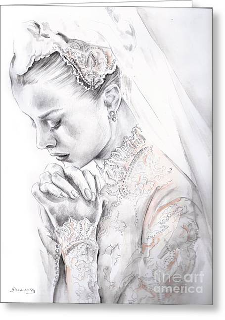 Monoco Greeting Cards - Princess Grace Greeting Card by Elina Sheripova