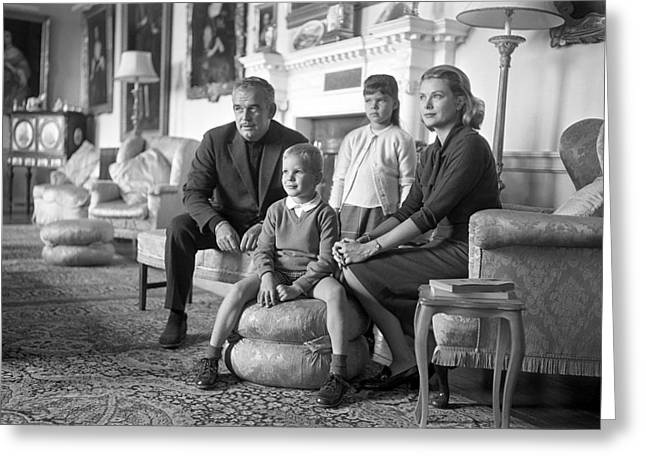 Princess Grace Of Monaco And Family In Ireland Greeting Card by Irish Photo Archive