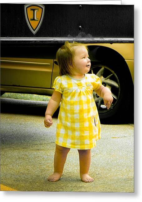 Toddlers Poster Greeting Cards - Princess In Yellow Greeting Card by Connie Dye
