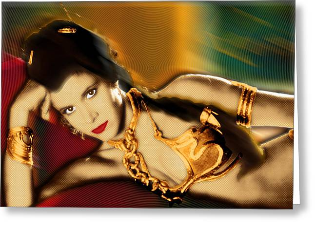 Slaves Greeting Cards - Princess Leia Star Wars Episode VI Return of the Jedi 1 Greeting Card by Tony Rubino