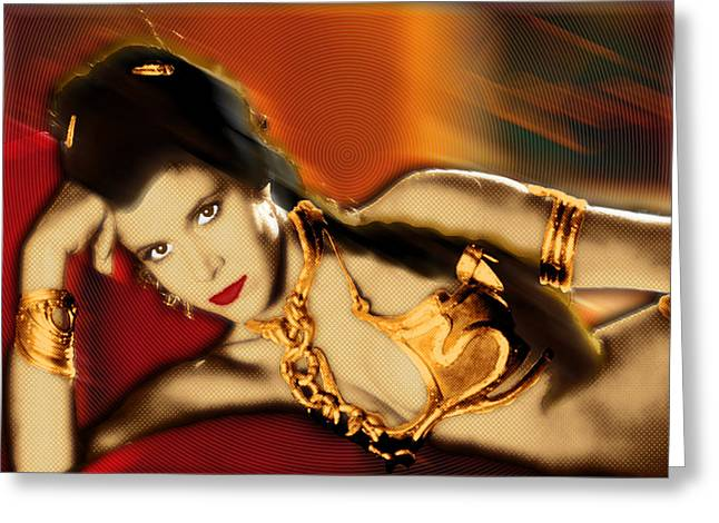 Posters Of Women Mixed Media Greeting Cards - Princess Leia Star Wars Episode VI Return of the Jedi 2 Greeting Card by Tony Rubino