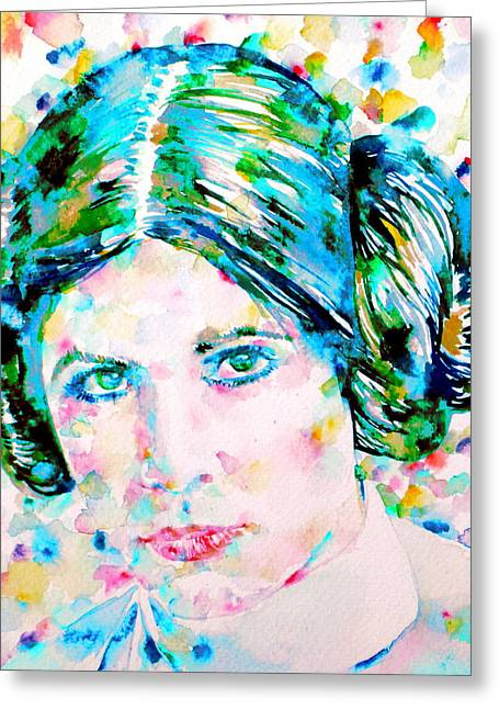 Pricess Greeting Cards - PRINCESS LEIA - watercolor portrait Greeting Card by Fabrizio Cassetta