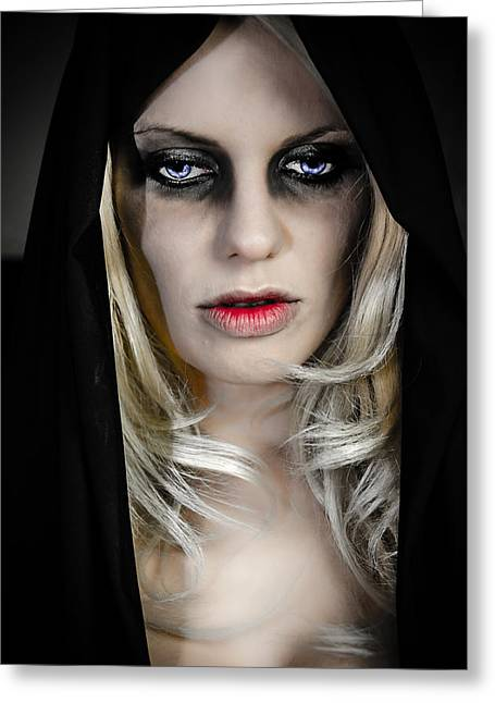 Eyebrow Greeting Cards - Princess of Darkness Greeting Card by Sotiris Filippou
