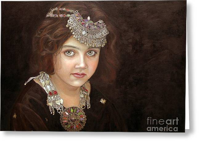 Pakistan Greeting Cards - Princess of the East Greeting Card by Enzie Shahmiri