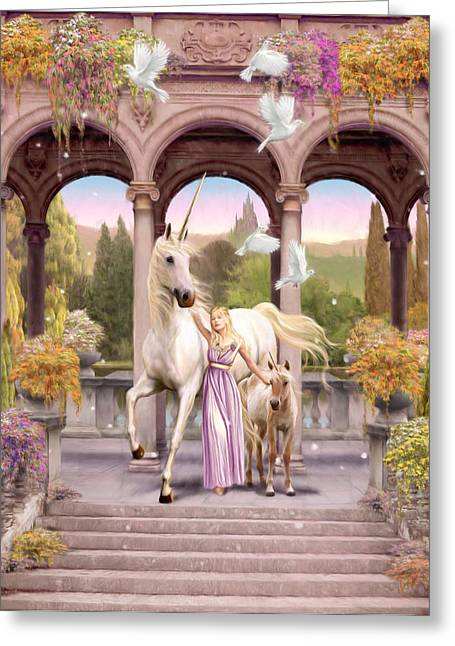 Dove Greeting Cards - Princess of the Unicorns Variant 1 Greeting Card by Garry Walton