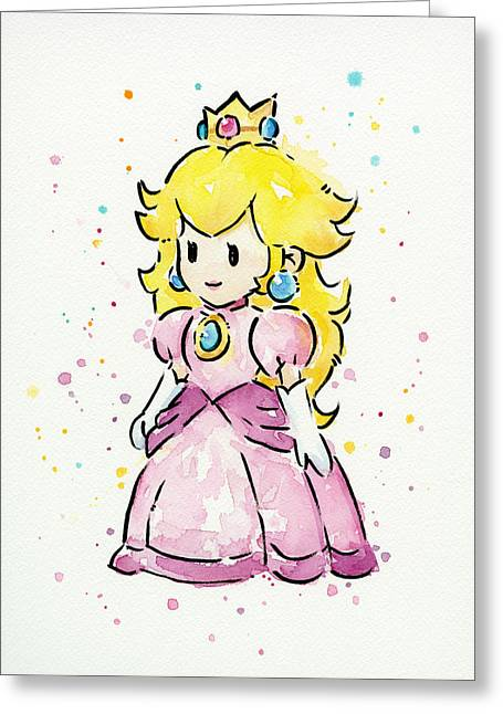 Character Portraits Paintings Greeting Cards - Princess Peach Watercolor Greeting Card by Olga Shvartsur