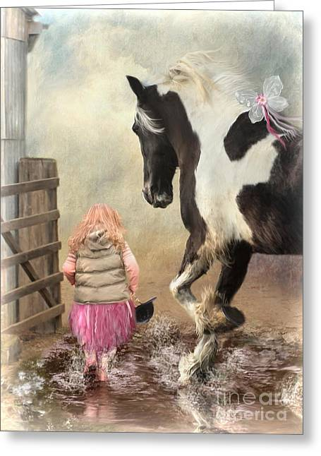 Gypsy Cob Greeting Cards - Princess Puddles and Sir Stamp Alot Greeting Card by Trudi Simmonds