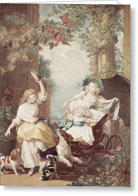 Vines Drawings Greeting Cards - Princesses Mary Sophia and Amelia daughters of George III Greeting Card by John Singleton Copley