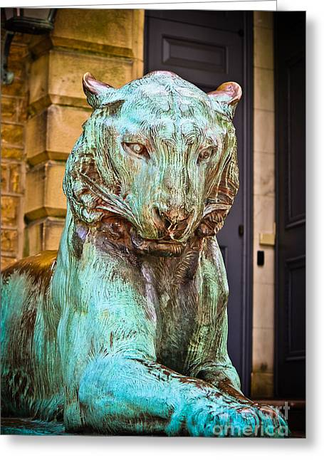 Wall Art Sculptures Greeting Cards - Princeton Tiger I Greeting Card by Colleen Kammerer