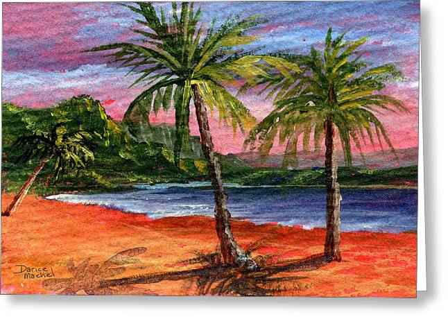 Sunset Seascape Paintings Greeting Cards - Princeville Kauai Greeting Card by Darice Machel McGuire