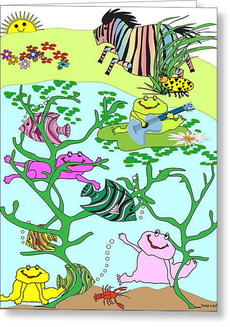 Huckleberry Digital Art Greeting Cards - Keep Looking 2 - Singing a Song Greeting Card by Chris Morningforest