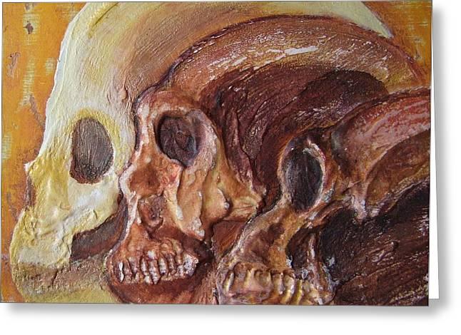 Selection Mixed Media Greeting Cards - Print Darwinian Study-02-Skulls Greeting Card by Pat Bullen-Whatling