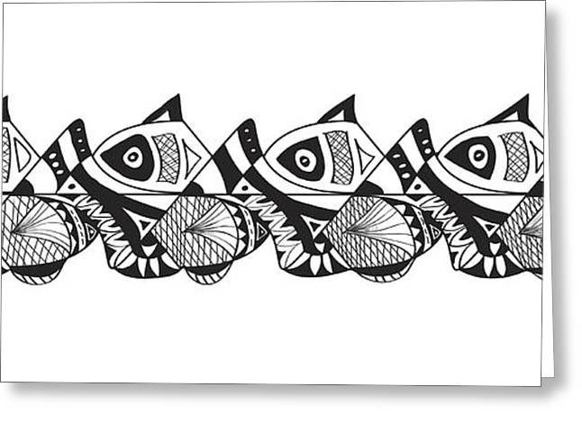 White Drawings Greeting Cards - Zen Tribal Fish Panel Greeting Card by Ginger Sanders