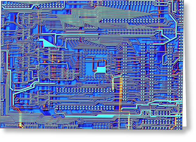 Printed Circuit Board Greeting Card by Alfred Pasieka