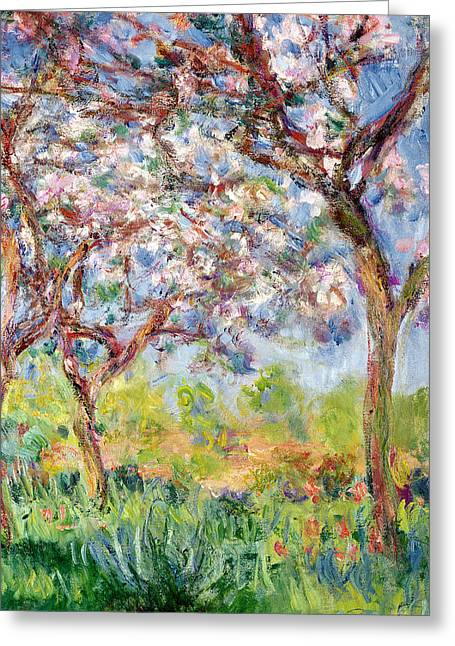 Monet Cards Greeting Cards - Printemps a Giverny Greeting Card by Claude Monet