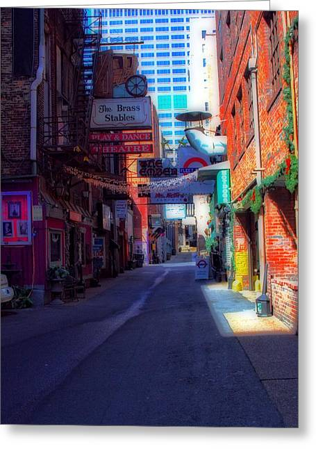 Saloons Greeting Cards - Printers Alley Nashville Tennessee Greeting Card by Dan Sproul