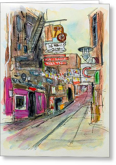 Tim Ross Greeting Cards - Printers Alley Nashville Greeting Card by Tim Ross
