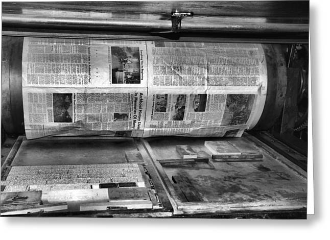 Washington Post Greeting Cards - Printing Press Greeting Card by Dan Sproul