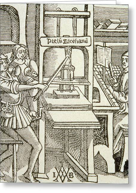Print Photographs Greeting Cards - Printing Press Of 1498, From A Book Printed In That Year Engraving Greeting Card by German School