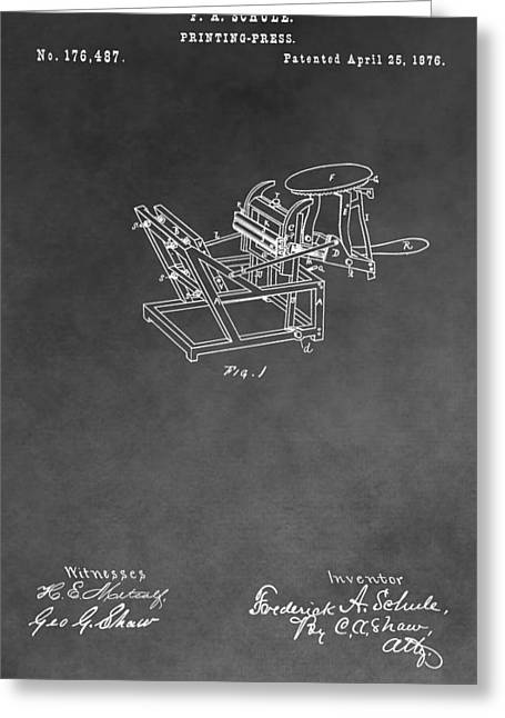 Printing Press Patent Drawing Greeting Card by Dan Sproul