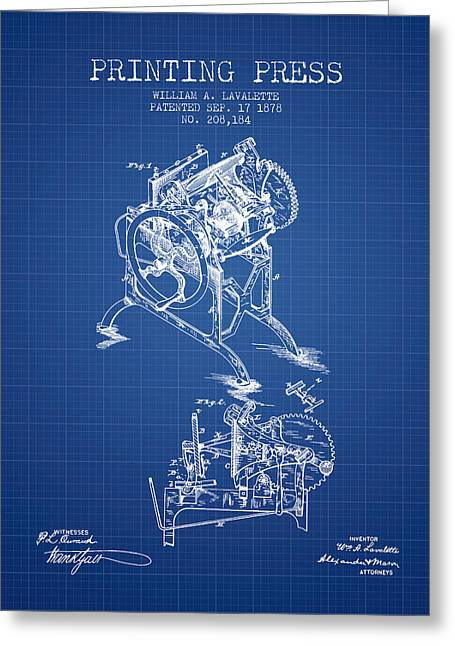 Printing Press Patent From 1878 - Blueprint Greeting Card by Aged Pixel