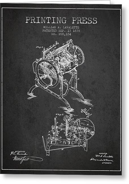 Printing Press Patent From 1878 - Dark Greeting Card by Aged Pixel