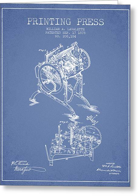 Printing Press Patent From 1878 - Light Blue Greeting Card by Aged Pixel