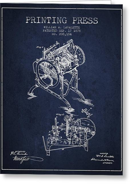 Printing Press Patent From 1878 - Navy Blue Greeting Card by Aged Pixel