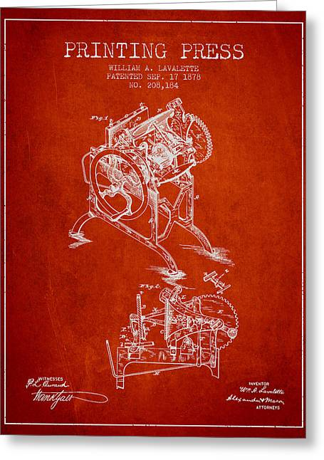 Printing Press Patent From 1878 - Red Greeting Card by Aged Pixel