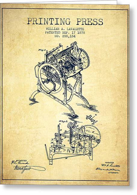 Printing Press Patent From 1878 - Vintage Greeting Card by Aged Pixel