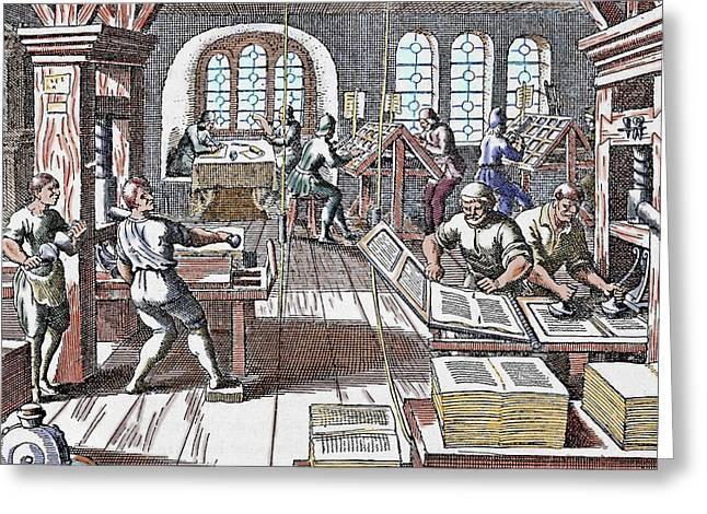Printing Press Seventeenth Century Greeting Card by Prisma Archivo