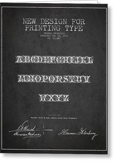 Typeface Greeting Cards - Printing Type Patent Drawing from 1878 - Dark Greeting Card by Aged Pixel
