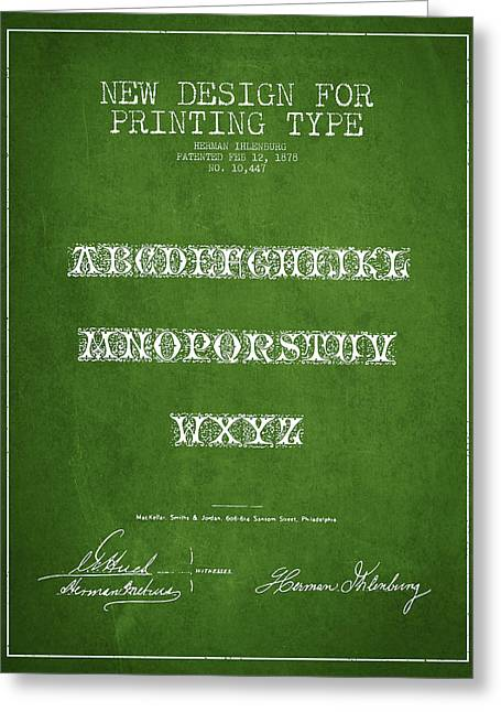 Typeface Greeting Cards - Printing Type Patent Drawing from 1878 - Green Greeting Card by Aged Pixel