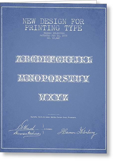 Typeface Greeting Cards - Printing Type Patent Drawing from 1878 - Light Blue Greeting Card by Aged Pixel