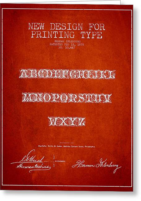 Typeface Greeting Cards - Printing Type Patent Drawing from 1878 - Red Greeting Card by Aged Pixel