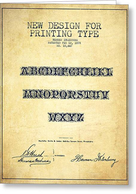 Typeface Greeting Cards - Printing Type Patent Drawing from 1878 - Vintage Greeting Card by Aged Pixel